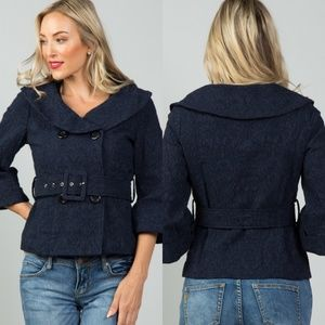 💙Navy Double Breasted Belted Lace Jacket